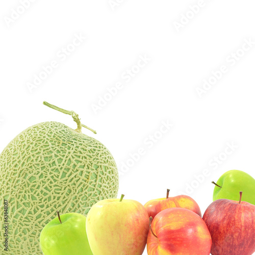 Melon Fruit upright  apple on a white background.
