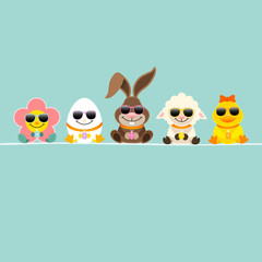 Easter Rabbit & Friends Sunglasses Retro