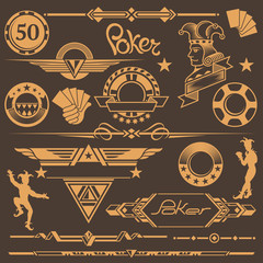 Set of Design Elements for Poker: in Retro Style