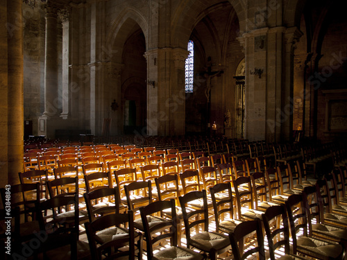 Sun shines inside an empty church in France