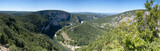 Panorama image of a bend in the Ardeche gorge, France - 63849081
