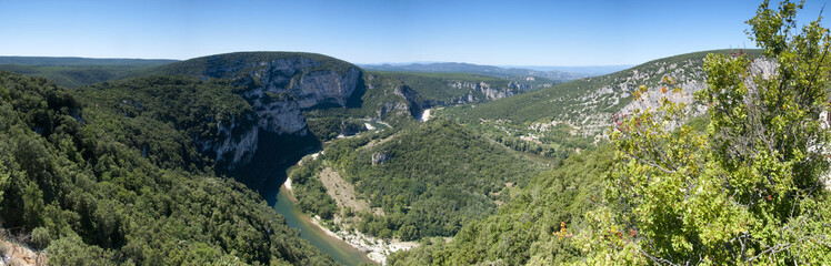 Panorama image of a bend in the Ardeche gorge, France