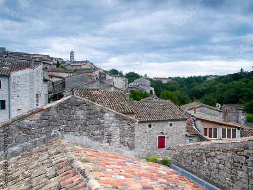 View over the rooftops of the ancient city of Balazuc, France