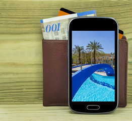 Mobile devise with wallet, credit card and money