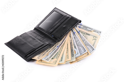 Money in  black leather wallet.