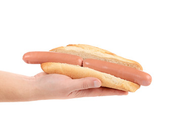 Hand holds hotdog with two sausages.