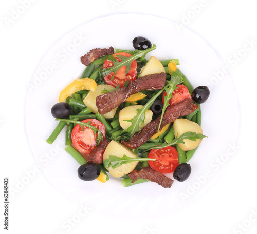 Salad with beef fillet.