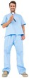 Handsome surgeon in blue scrubs using stethoscope