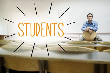 Students against lecturer sitting in lecture hall