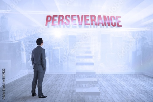 Perseverance against city scene in a room