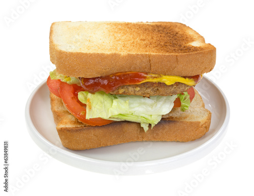 Vegetable burger sandwich with fixings