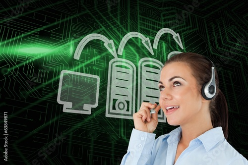 Composite image of computer connection and call centre worker