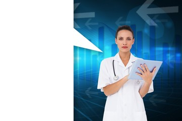 Composite image of pretty nurse using tablet pc with speech bubb