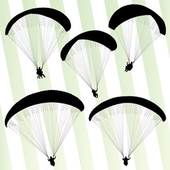 Paragliding active sport background set vector