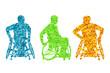 Active disabled men wheelchair vector background concept