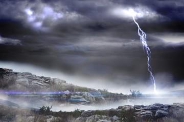 Stormy landscape with lightning bolt