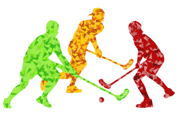 Floorball players vector silhouette background abstract