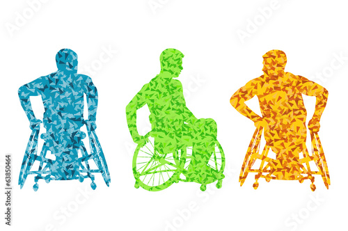 Active disabled men wheelchair vector background concept