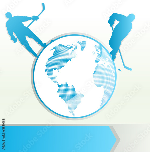 Hockey player vector background concept with planet