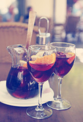 Sangria in glasses on a table in cafe