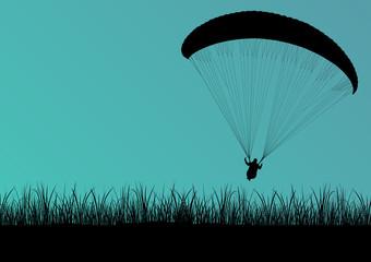 Paragliding active sport background landscape concept vector wit