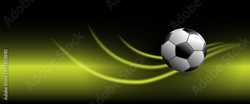 Soccer Ball on Banner with Glowing Swooshes