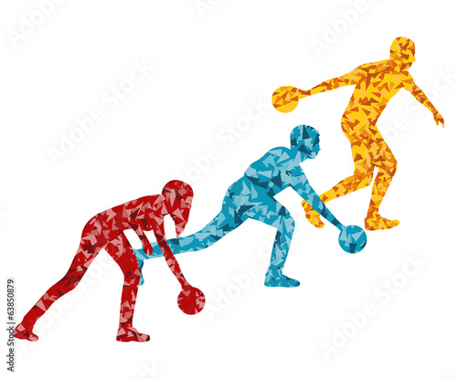 Bowling player silhouette vector background concept