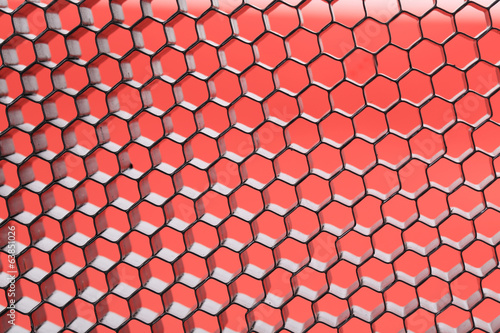 Hexagonal mesh on a red background.
