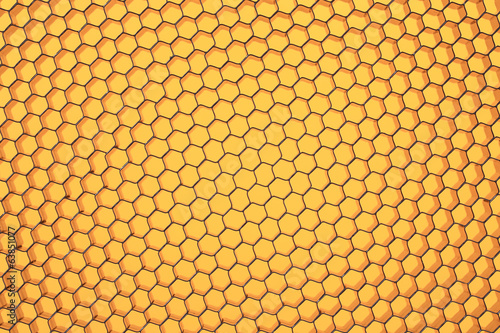 Hexagonal mesh on a yellow background.