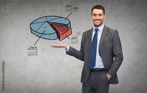 man showing growing chart on the palm of his hand