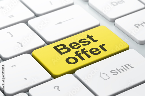 Business concept: Best Offer on computer keyboard background