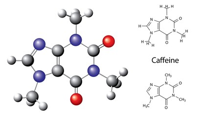 Structural chemical formula and model of caffeine molecule