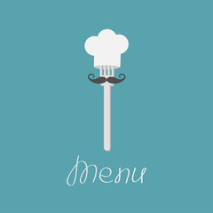 Fork with big mustache and chefs hat. Menu card. Flat design sty