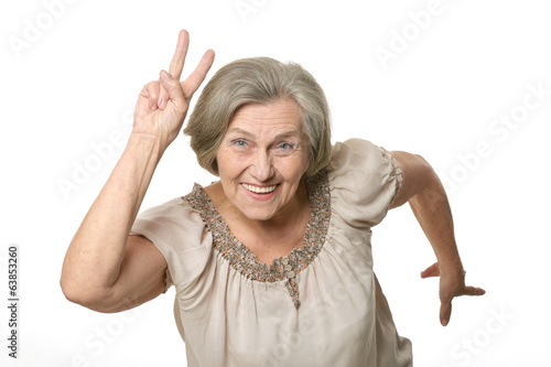 Emotional elderly woman