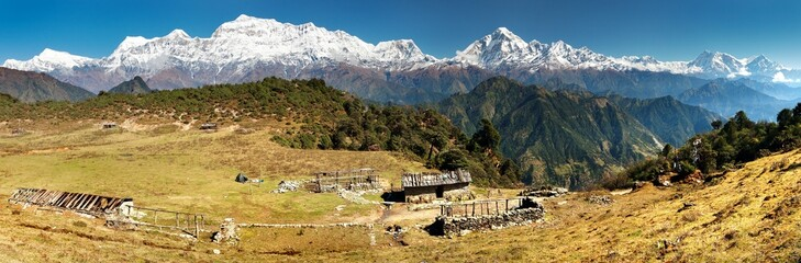 panoramatic view of Dhaulagiri and Annapurna Himal - Nepal