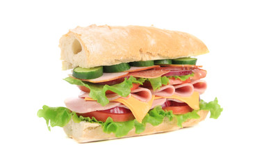 Fresh sandwich with ham and vegetables.