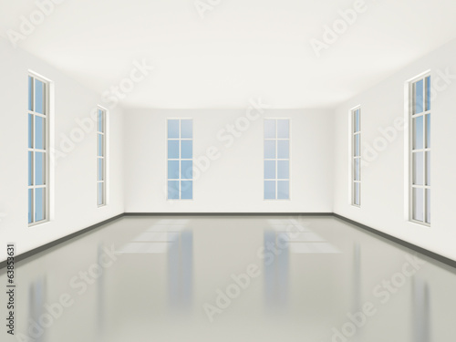 Interior light room in classic style with large windows. 3D.