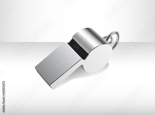 Metalilc isolated whistle.  Illustration 10 version.