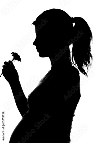 silhouette of a pregnant woman on a white background