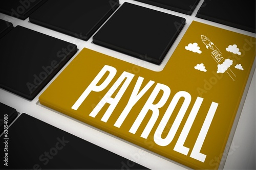 Payroll on black keyboard with yellow key