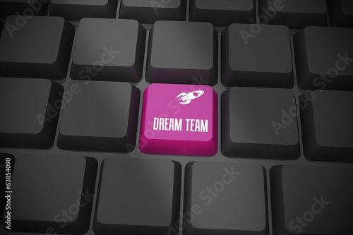 Dream team on black keyboard with purple key