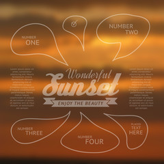 Wonderful sunset text lettering and infographics.