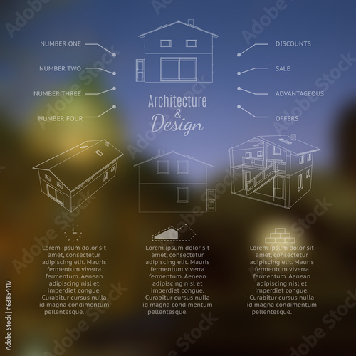 Architecture and design lettering. Abstracr house design.