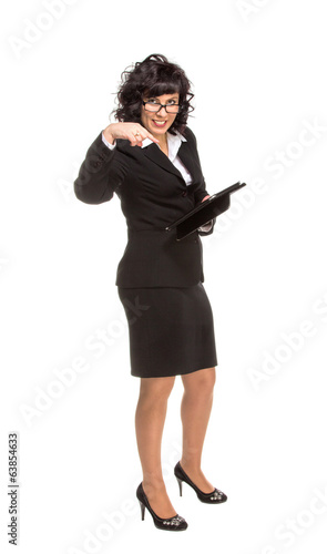 Cheerful senior business woman with Tablet computer