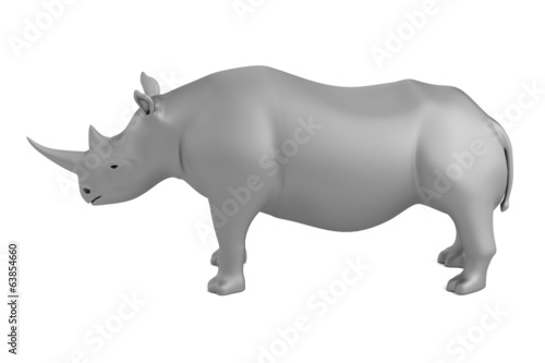 realistic 3d render of rhino