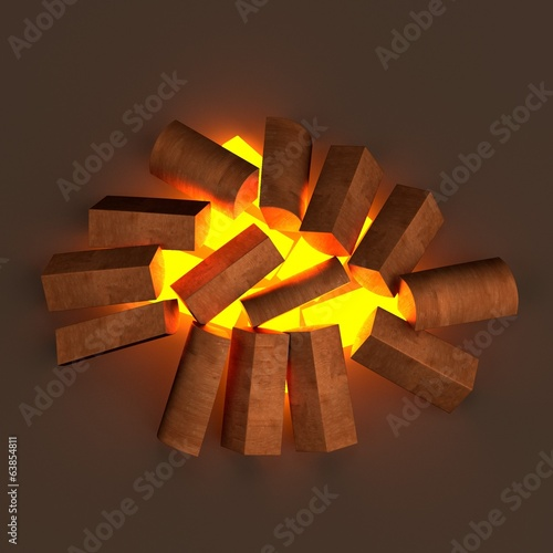 realistic 3d render of fireplace