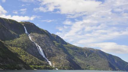 Akrafjord, Langfoss, Langfossen, Wasserfall, Sommer, Norwegen
