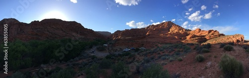 panorama utah sunset over red rocks