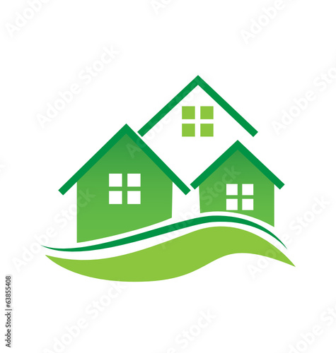 Green houses logo vector