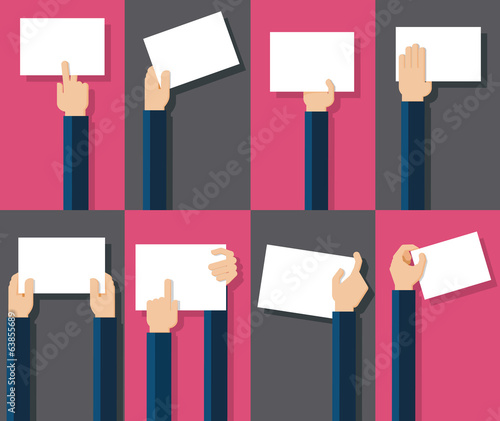 Flat design illustration of hands holding paper with copy space